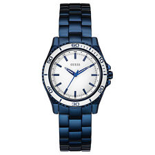 NEW GUESS WATCH Women * Shiny Polished Blue Steel Strap * White Dial * U0557L3