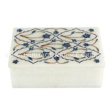 Marble Jewelry Storage Box Lapis Lazuli Inlay Design Personalized Decor E656