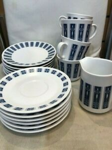 NORITAKE PROGRESSION PACIFIC 9010 SET OF 6 CUPS/SAUCERS/BREAD PLATES + CREAMER