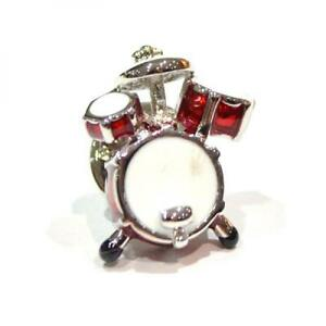 Silver Plated Red Drumkit LAPEL PIN Badge Musician Drummer Band Birthday Present