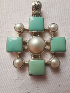 Nice Sterling Silver Turquoise and REAL Pearl Pendant