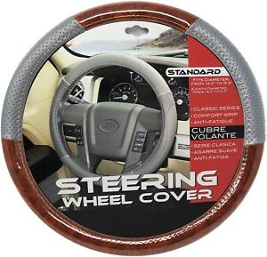 """New Gray Dark Wood Car Steering Wheel Cover PU Leather Size M 14.5"""" - 15.5"""""""