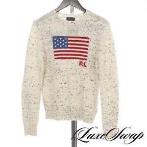 NWOT $298 Polo Ralph Lauren White Denim Speckled USA American Flag Sweater L NR