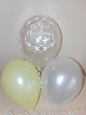 Boys / Girls Yellow White & Clear Printed Christening Balloons ☆ Decorations x12