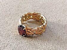 HSN Technibond 14kt Yellow Gold over Sterling 3ct Garnet Byzantine Ring Sz: 10