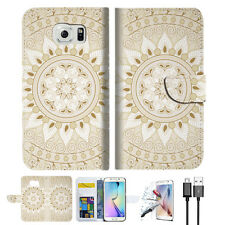 White AZTEC TRIBAL Wallet Case Cover For Samsung Galaxy S7 Edge-- A006