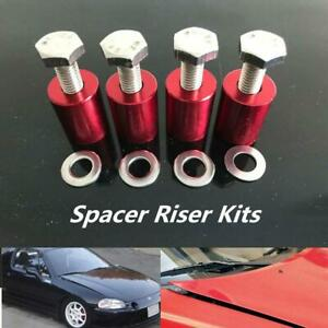 1 '' 8mm Red Billet Hood Vent Spacer Riser Kit For Car Engine Turbo Engine Swap