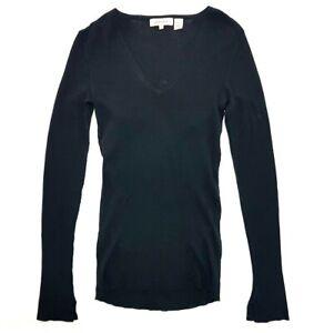 Inhabit Black Long Sleeve Shirt V-Neck T-Shirt Size S Womens