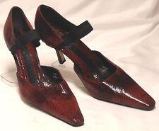 J RENEE Size 9.5 M Red Black Snake-Embossed Leather High-Heel Ankle-Strap Pumps