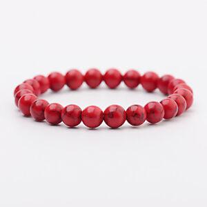 Men Women Natural Red Turquoise Chakra Bead Elastic Natural Stone Agate Bracelet