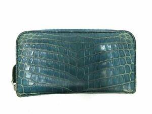 Auth Bottega Veneta Crocodile Round Zipper Wallet 114076 Leather Blue Good 90748