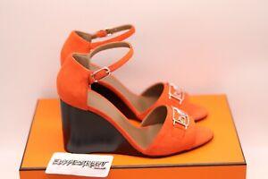 HERMES Paris Attelage Sandals | Orange | Size 37 | Suede  | 100% Authentic