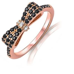 Rose Gold Black Simulated Diamond Bow Sterling Silver Ring - Sizes 3 - 12