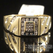 NEW MEN'S 10K YELLOW GOLD 100% REAL GENUINE DIAMOND PINKY WEDDING RING BAND SZ11