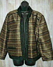 Chicos Royal tweed Jacket Black Gold NWT size 3 L