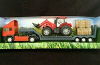 Teamsterz Childrens Toy Red Farm Tractor & Transporter Set Ages 3+ Metal New