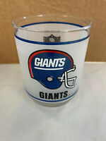Vintage NFL New York Giants Frosted Glass Cups Tumblers Mobile Oil 1980'S