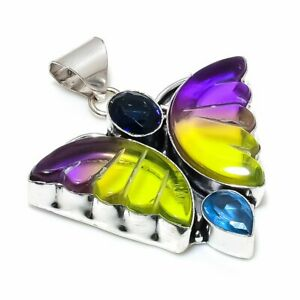 "Bi-Color Tourmaline, Blue Topaz 925 Sterling Silver Jewelry Pendant 1.97"" h301"