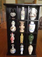 12 1980  mini vases 12 in wood display case Japan