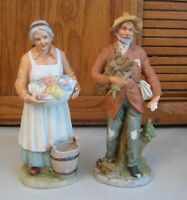 HOMCO Farm Couple 8884 & 8829 Porcelain Figurines Vintage Retired