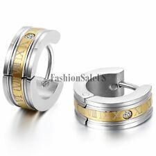 Men's Stainless Steel Roman Number Engraved Hoop Huggies Charm Earrings One Pair