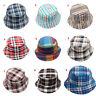 Kids Chilren Boys Girls Plaid Striped Cotton Bucket Boonie Fisherman Hat Cap