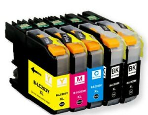 Full set 5 Pack Printer Black Color Ink Cartridge for Brother LC203XL LC201 New