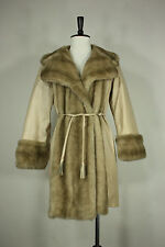 Vintage leather Lilli Ann jacket M coat 60's 70's faux fur white made in England