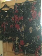 Bon Marche black and red with gold skirt and top set size 16 and 18