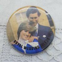 VINTAGE Charles and Diana Large Badge 29 July 1981 Royal Wedding Collectable Pin