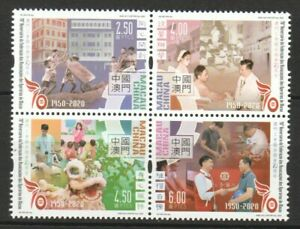 MACAU CHINA 2020 70TH ANNIV. FEDERATION OF TRADE UNIONS BLOCK OF 4 STAMPS MINT