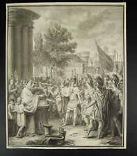 Antique print d'ap Louis Fabricius DUBOURG (1693-1775) scène biblique vers 1750