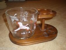 Decatur Five (5) Pipe Rack Stand & Glass Bowl w/ Bird Hunter - Dog - Walnut Wood
