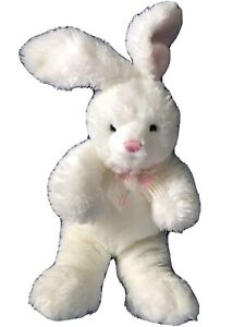 """25"""" White Rabbit with Pink Neck Ribbon Plush Stuffed Animal from Russ Berrie"""