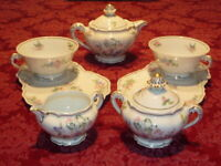LIMOGES PORCELAIN BEAUTIFUL TEA SET UNUSED EXQUISITE $119.95 + FREE EXTRA PCS.