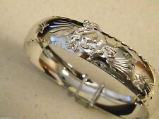 Bronco & Stars New 16mm Wide Lady's Rhodium Plated Bangle Bracelet Bucking Horse