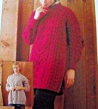 "KNITTING PATTERN LADIES TEENS 32-46/"" STRIPY JUMPER LONG-LINE L//SLEEVED SKM AUA"