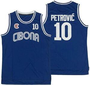 Men's Drazen Petrovic Basketball Jersey 10 # Cibona European Blue All Stitched