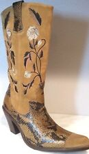 ANTONIO Womens Justine Cowboy Boots Tan Brown Leather Snake Print Floral Shoes 6