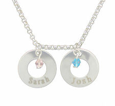 Double Ring Silver Jewel Personalised Engraved Name Love Necklace Jewellery Gift