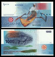 COMORES: New 1000 Francs Banknote, 2006 ( 2020), P-NEW, UNC > Boat and Fish
