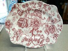 """JOHNSON BROS ENGLAND RED ENGLISH CHIPPENDALE SERVING PLATTER PLATE 11.5"""" x 9.5"""""""