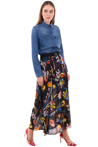 RRP€1790 GIORGIO ARMANI Mulberry Silk A-Line Skirt Size 44 / L Floral Slit Front