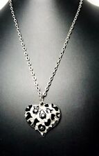 Rustic Black And Silver Heart Pendant With Rhinestones On Silver Chain