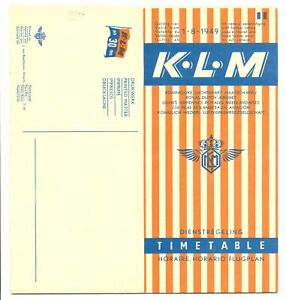 NETHERLANDS AVIATION KLM 1949- No. 11--TIME TABLE + MAP--PERFACT CONDITION