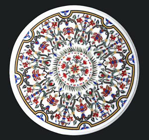 """18"""" White Marble Top Coffee Table Carnelian Marquetry Floral Inlay Decors W382"""