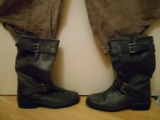 Kurt Geiger Serena Grey - Black Buckle Pull-on Biker Boots 37 4 New unboxed £160