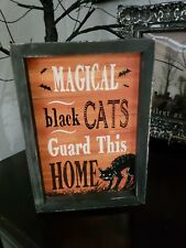 "Halloween Primitive Vintage Style Black Cat Block Sign Tabletop Decor 9"" x 6.25"""