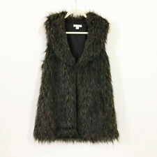EUC Cotton On Black and Grey Faux Fur Vest Jacket Wms Size Small