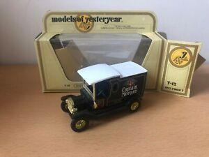 Matchbox Models Of Yesteryear - Y12 Ford T Van - Capt Morgan - Black Seat - I6